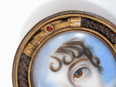 Exceptional Lover's Eye Miniature Portrait Brooch