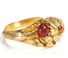 Larter & Sons Art Nouveau Garnet  Gold Ring