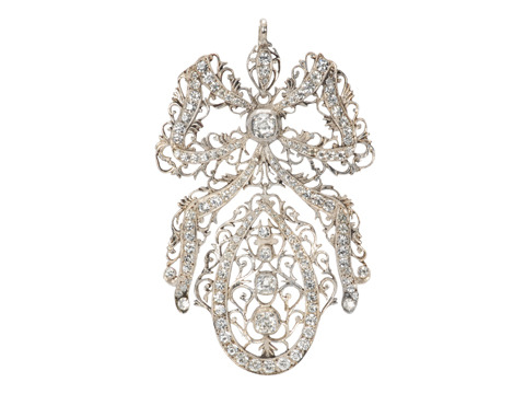 Victorian Silver & Paste Bow Pendant