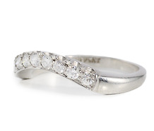 Estate Curved Diamond Platinum Wedding Band
