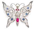 Float Away - Gem Set Butterfly Brooch Pendant
