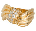 """Signed """"Fred"""" Sculptural Diamond Ring"""