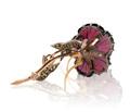 Superb Carved Garnet Flower Brooch