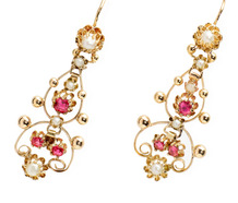 French Earrings of Rubies & Pearls