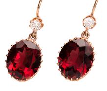 Garnet Royale - Gem & Diamond Drop Earrings