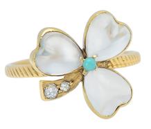 Moonstone Diamond Clover Ring