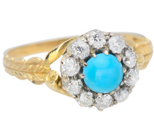 Vintage Turquoise Diamond Cluster Ring