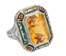 Deco Presence - Citrine Filigree Ring