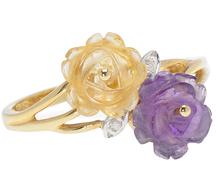 Carved Blossoms - Gem Set Ring
