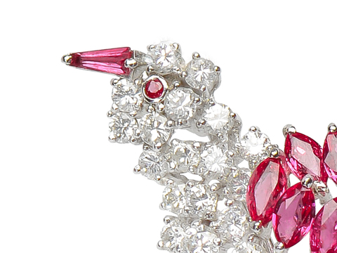 Birds of a Feather - Ruby Diamond Brooch