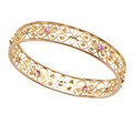Antique Diamond Pink Sapphire Bangle Bracelet