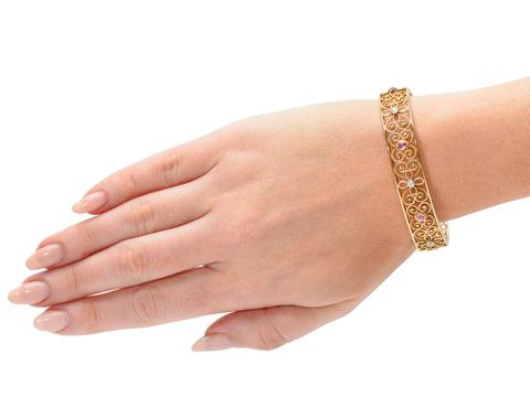 Antique Diamond Pink Sapphire Bangle Bracelet
