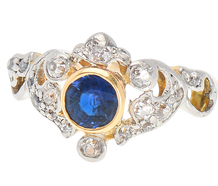 Tiara for the Hand - Diamond Sapphire Ring