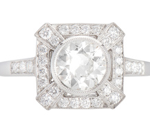 Art Deco Inspired Diamond Platinum Ring
