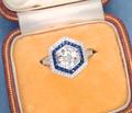 Contrast Geometry Diamond Sapphire Ring