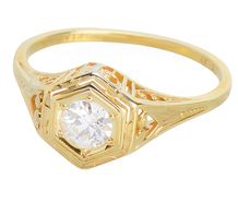 Warmth of Gold - Art Deco Diamond Ring