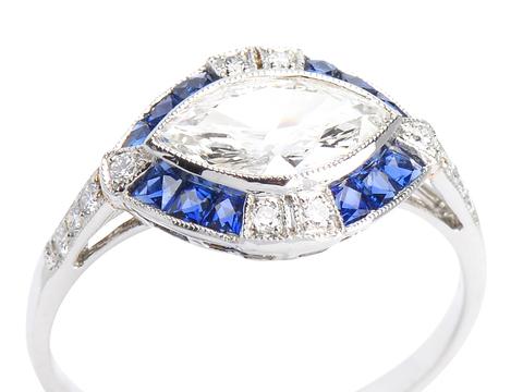 Marquise Diamond Sapphire Ring