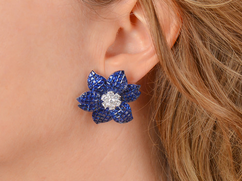 Spectacular Invisibly Set Sapphire Diamond Earrings