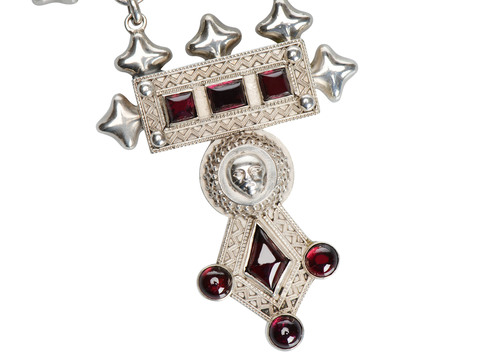 Impressive Victorian Silver Necklace in Box