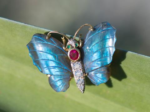 Remarkable Labradorite Gem Butterfly Brooch