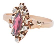 Edwardian Kiss - Garnet Diamond Ring