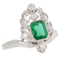 Art Deco Emerald Diamond Ring