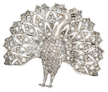 Proud as a Peacock Silver Brooch