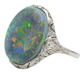 Night Escapade - Black Opal Art Deco Ring
