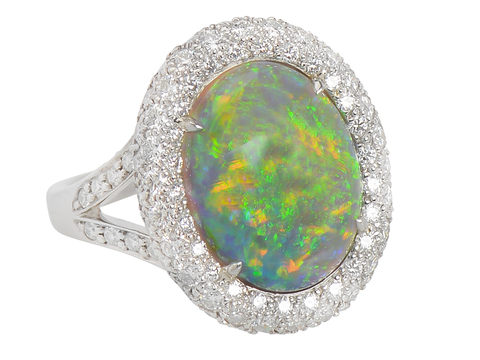 Come Hither - Diamond Opal Cluster Ring
