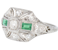 Engaging Emeralds - Art Deco Diamond Ring
