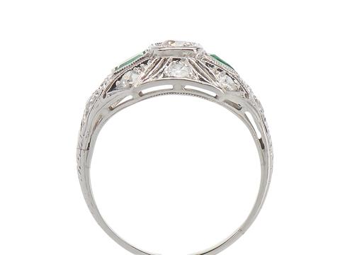 Engaging Emeralds - Art Deco Diamond Ring