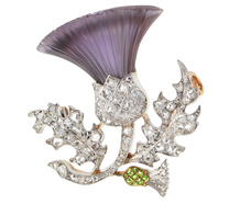 French Thistle Posey Brooch In Gems