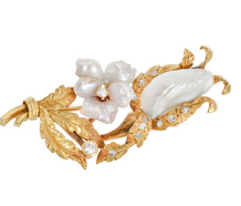 Baroque Pearl Blossoms in a Brooch