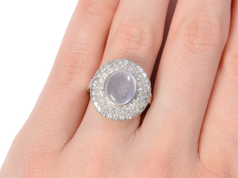 Classically Carved Moonstone Ring