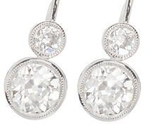 Double Diamond Platinum Earrings