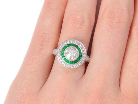 Old European Diamond Emerald Ring
