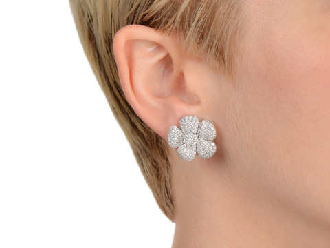 Diamond Glamour - Flower Cluster Earrings