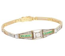 Art Deco Delight - Emerald Diamond Bracelet