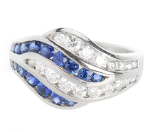 Ocean Waves - Sapphire Diamond Ring