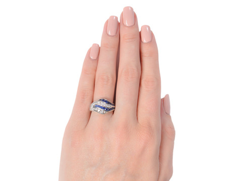 Ocean Waves - Sapphire Diamond Ring