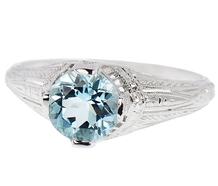 Tranquility - Aquamarine Platinum Engagement Ring