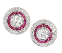 Diamond & Ruby Platinum Halo Earrings