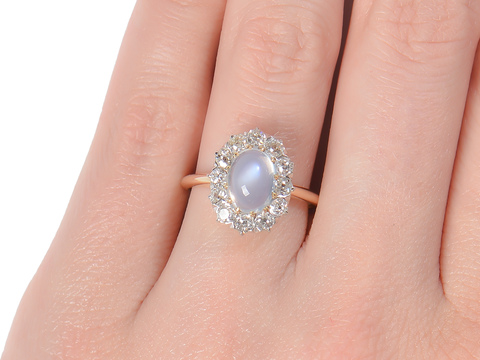 Edwardian Shimmer - Blue Moonstone Ring
