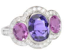 No Heat Purple & Pink Sapphire Ring