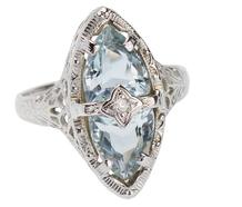 Ice Blue Aquamarine Art Deco Ring
