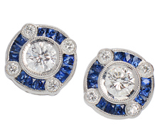 Evening Song - Sapphire Diamond Stud Earrings