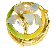 Krementz Enamel Flower Brooch of 1910