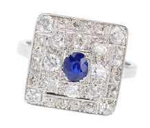 Art Deco Ring - Sapphire & 1.95 Carats of Diamonds