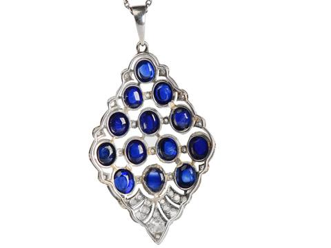 Waterfall - Art Deco Sapphire Pendant