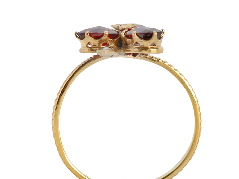 Grass is Greener - Garnet Pearl Clover Ring
